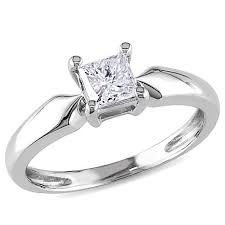 solitare ring 14k white gold 5ct princess cut white diamond solitaire ring