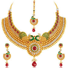 plated choker necklace images Buy kritika kamra stunning peacock gold plated choker necklace set jpg