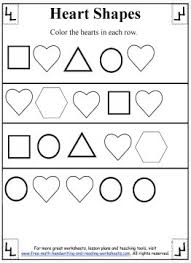 heart shapes preschool worksheets