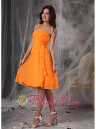 sweet orange strapless short prom dress chiffon handle flowers