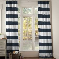 Blue And Striped Curtains Create A Ambience To Your Room With Blue And White