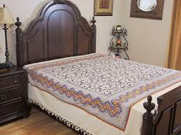 cotton floral bedspread cream print indian style woven sheet