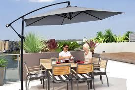 Grey Patio Umbrella 3 Metre Cantilever Outdoor Umbrella With Bonus Protective