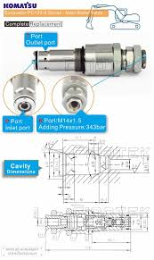 komatsu excavator relief valve pressure control valve