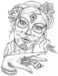 simple stencil of catrina tattoo sketch golfian com