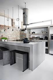 design grey metal industrial kitchen faux brick wall decor