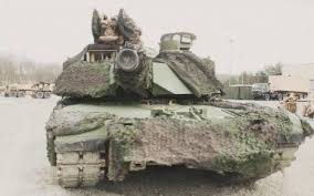 us tanks in europe painted with green paint for camouflage