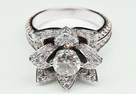 lotus flower engagement ring diamond flower engagement ring
