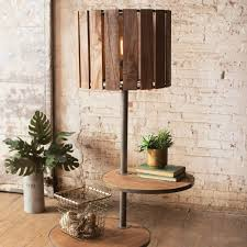 wooden floor lamp with round rotating shelves products