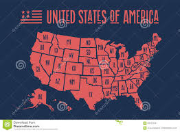 United States Map With State Names Poster Map United States Of America With State Names Stock Vector