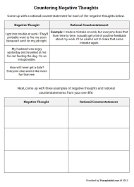 countering negative thoughts thought log worksheet therapist aid