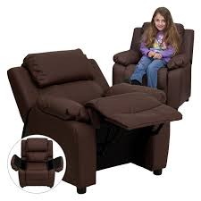 flash furniture deluxe heavily padded leather kids recliner with