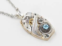 sted necklaces steunk necklace silver movement gears blue unisex