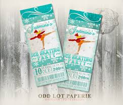 ice skating invitation birthday party invitation ticket
