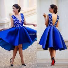 cheap blue short party cocktail dresses 2017 deep v neck backless
