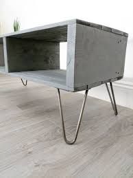 rectangular wood hairpin coffee table reclaimed pallet coffee table turvas in slate grey with hairpin legs