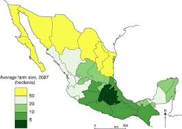 map of mixico the pattern of farm sizes in mexico is there a south divide