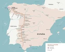 Map Of Southern Spain V A De La Plata Map The Silver Route Camino De Santiago Or