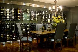 Dining Room Table With Wine Rack Dining Room With Wood Herringbone Wine Rack Transitional