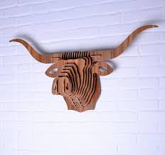 wooden animal wall buffalo animal 3d wooden bull wall hanging diy wood
