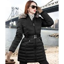 dkny faux fur trim hooded belted puffer in black lyst