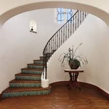 Iron Banister House Design Curved Staircase With Spanish Floor Tiles Stairs And