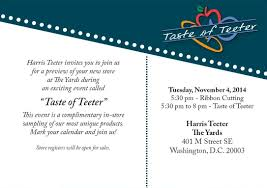 Invitation Card For Grand Opening Grand Opening Of Harris Teeter In Washington D C