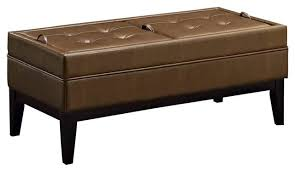 Large Storage Ottoman Bench Large Storage Ottoman Bench In Burnt Umber Tan Footstools And