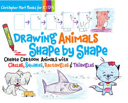 drawing animals shape by shape create cartoon animals with