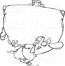 vector of a cartoon man carrying a big suitcase coloring page
