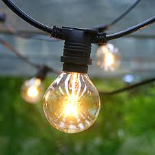 patio led lights string with outdoor globe g40 bulb and 9 solar