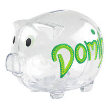 personalised piggy bank transparent piggy bank
