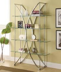 coaster bookcases x motif chrome finish bookshelf with floating