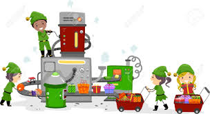 illustration of kids working in a gift factory stock photo