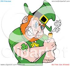 royalty free rf clip art illustration of a leprechaun smoking a