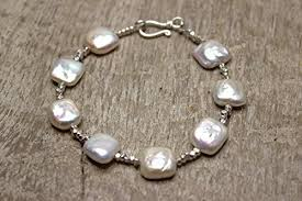 beaded bracelet with pearls images Freshwater coin pearl sterling silver beaded bracelet bridesmaid jpg