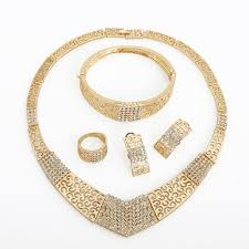 gold filled necklace set images V shape with rhinestone gold plated necklace earring bracelet jpg