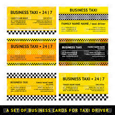 yellow chequered business card template for taxi vector image