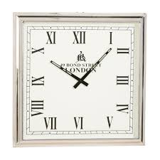 silver home decor nickel square wall clock ethan allen us