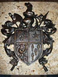 cast aluminum shield wall plaque medieval old world royal castle