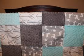 Aqua And Grey Crib Bedding Baby Crib Bedding White Gray Arrows Gray Deer Light Aqua And