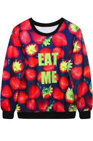 strawberry sweater eat me strawberry print sweatshirt beautifulhalo com