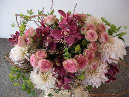 pink purple and white flowers arrangements for wedding and