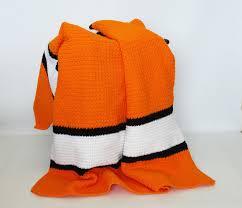 Orange Sofa Throw Crochet Afghan Stadium Sports Blanket Throw Orange Black White