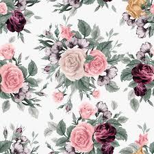retro beautiful roses vector seamless pattern 04 flower