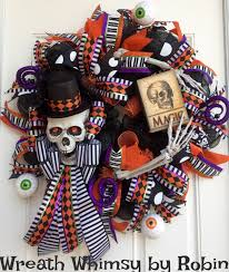 Halloween Wreath Ideas Front Door Halloween Skeleton Deco Mesh Wreath In Purple U0026 Orange Skeleton