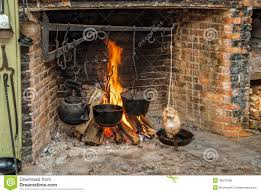 cooking on open hearth stock photo image 49513106