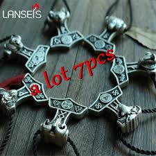 7pcs wholesale norse symbol thor hammer pendant necklace viking