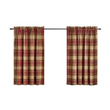 bernard 84 in l plaid red back tab curtain panel at curtain style