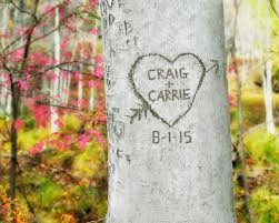 personalized carved heart tree couples gift personalized